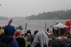 The rain started during the swim