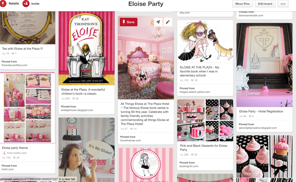 Eloise party pinterest screenshot